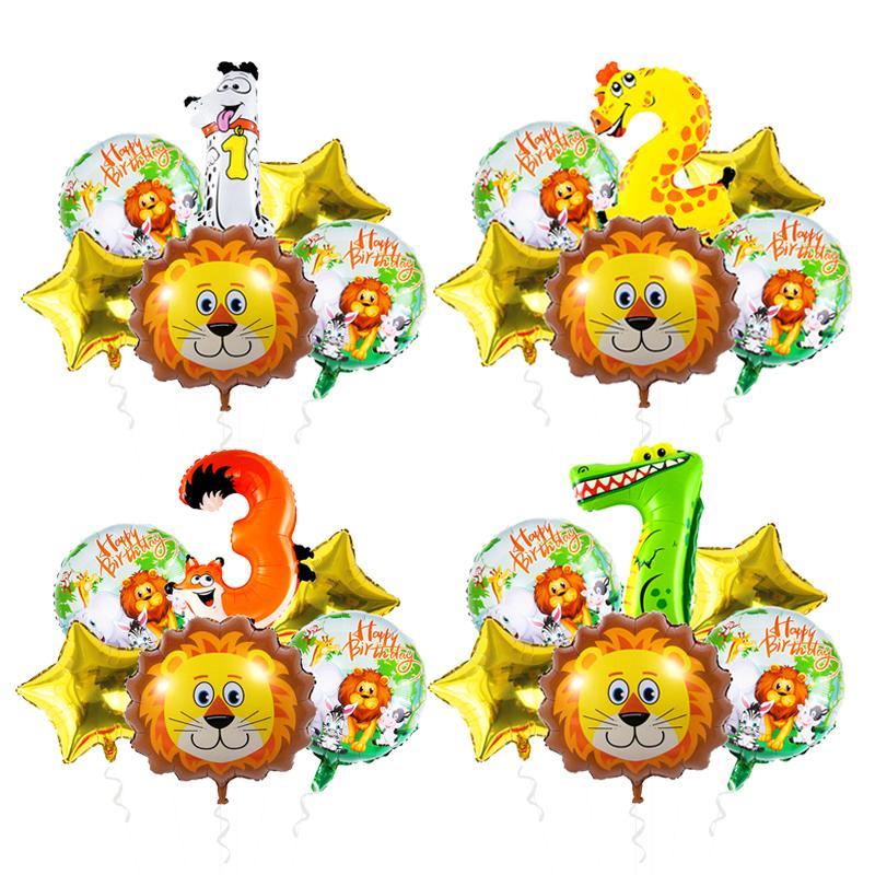 Тема Balloon Установить День рождения украшения Детей Tiger Z Зебры животных Фольга Воздушные шары Джунгли для вечеринок декора
