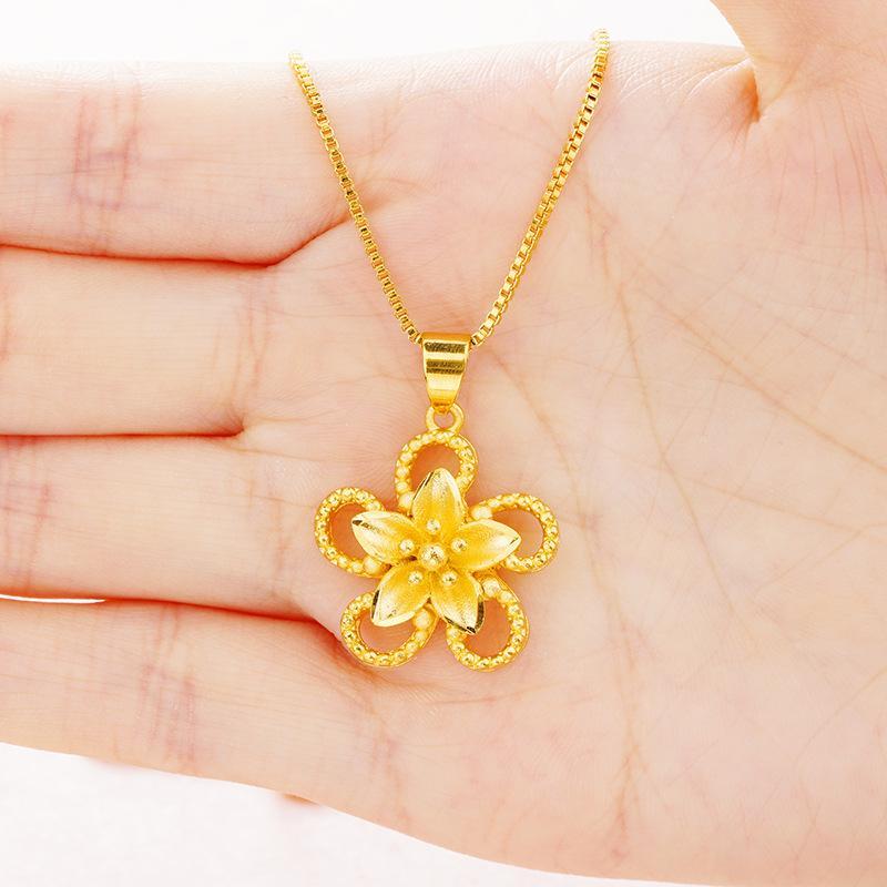 Pendentif Colliers Luxueux 24K Or Formation Fleur Femmes Femmes Collier Collier Dubai Mode Mère Cadeaux Bijoux Accessoires UI0210
