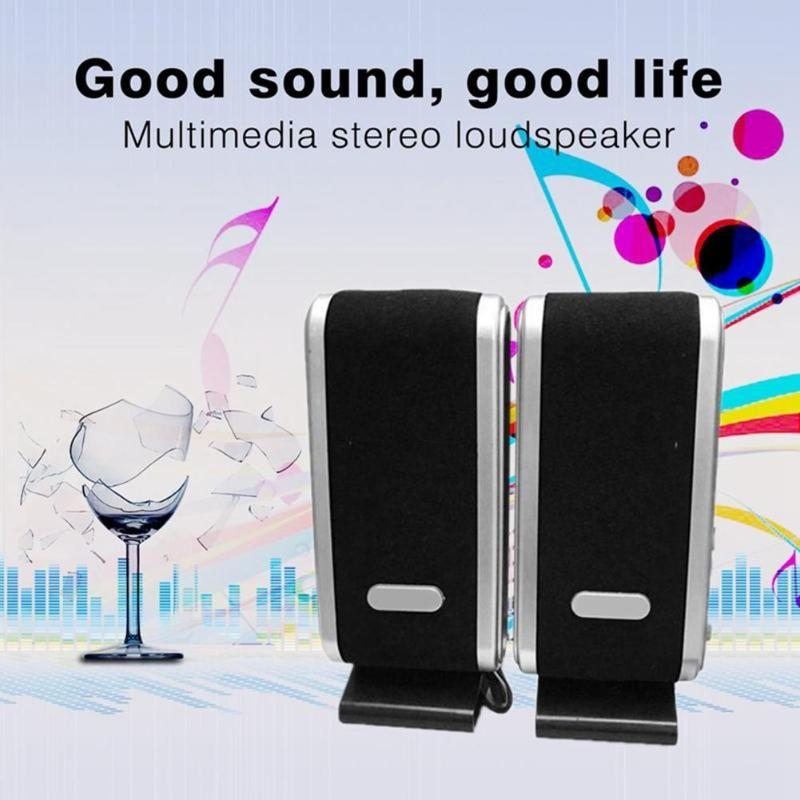 Para PC Desktop Laptop Preto estéreo portátil USB Speaker Surround Sound System Adequado para a maioria dos leitores de música Speakers