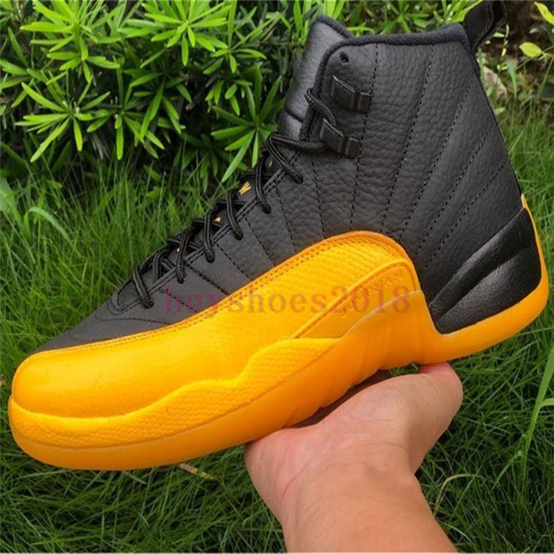 2020 الافراج أصيلة 12 PE جامعة الذهب أسود الرجال أحذية كرة السلة 130690-070 الذهب الأسود 12 ثانية حقيقي ألياف الكربون أحذية رياضية