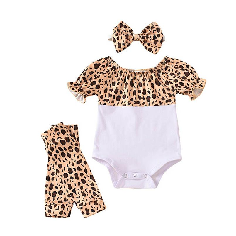 INS Summer leopard baby girls suits baby romper+Leg Warmers+bows headband 3pcs/set Infant Outfits Newborn Outfits baby girl clothes B2123
