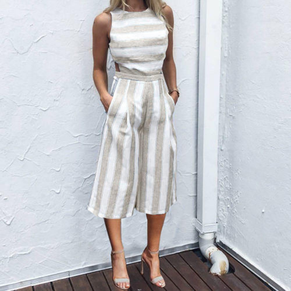 ufficio High Street Tuta da donna senza maniche a righe tuta quotidiana estivi allentato casuale gamba larga Pantaloni Salopette Femme # J4S