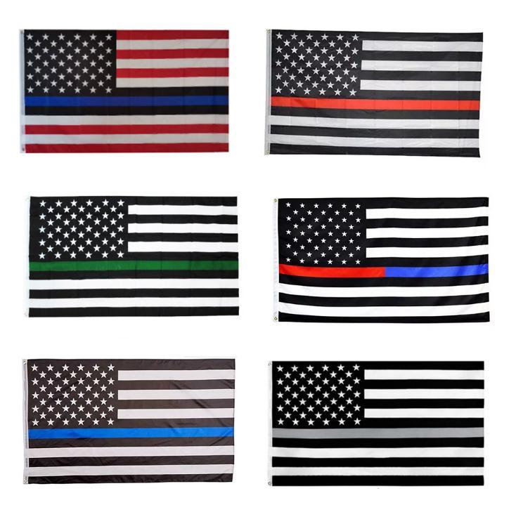 linea blu Bandiera fabbrica diretta 3x5Fts all'ingrosso 90cmx150cm Law Enforcement Officers polizia sottile linea rossa linea verde della bandiera americana SN1549