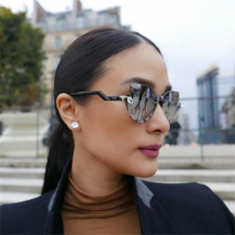 Oculos Gafas Blink Femmes Rim Cristal Nouveaux yeux Chat Tortue Tortue Tortue Miroir Miroir Sunglasses Prescription Reflective Demi Lens UV400 Prélever