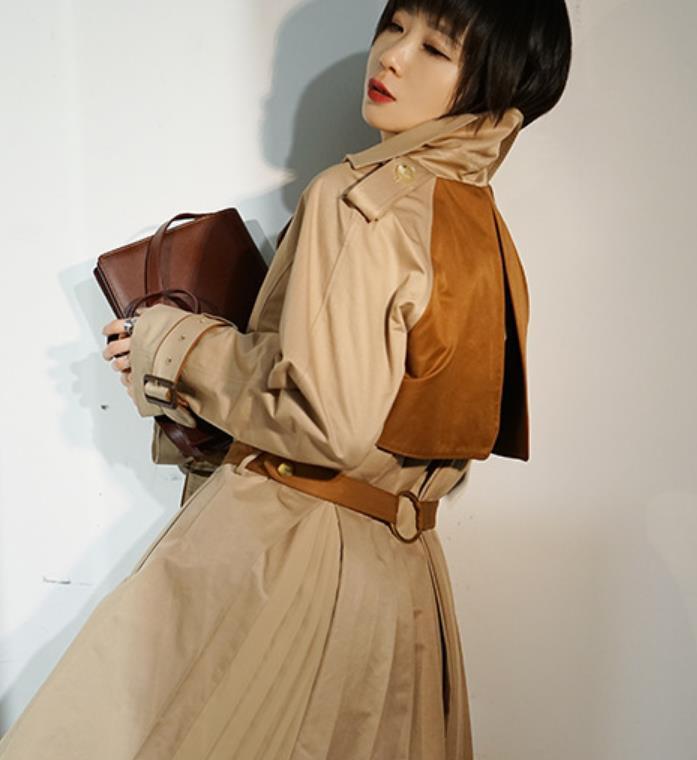 새로운 여성 Trech 코트 잉글랜드 스타일 디자이너 의류 더블 브레스트 Lapael 목 카키 새로운 우아한 드레스 슬림 스키니 착실히 보내다 롱 코트