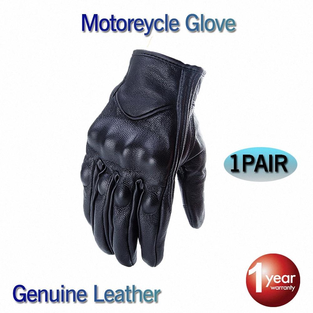 2020 2020 Новый CRAZY BIKER перчатки натуральной кожи Полный Finger Черный Мото Мужчины Мотоцикл перчатки Мотоцикл Защитные Шестерни ветрозащитный Для Sa wk6r #