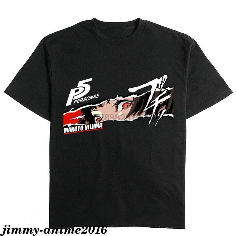 Selten! Persona 5 Makoto Niijima-Logo-Schwarz-Farben-Männer-T-Shirt Cartoon-T-Shirt Männer Unisex neue Art und Weise T-Shirt-freies Verschiffen