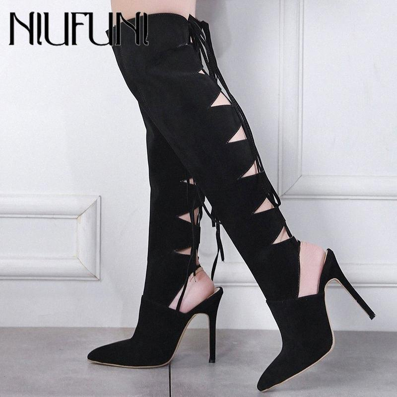 2019 New Style Sexy Ladies creux Cuissardes Femmes bout pointu Pompes Chaussures Femme Croix Tied mince Escarpin Taille 35 40 Bottes Offi IR29 #