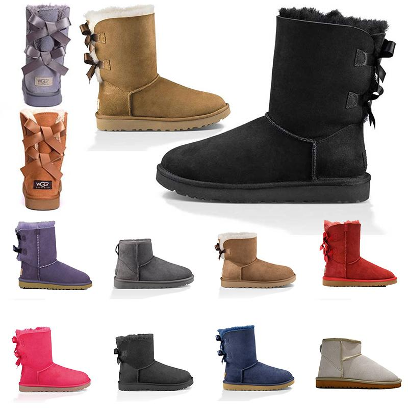 Frauen Schneeschuhe Mode Winterstiefel klassischen Mini Knöchel kurze Damen Mädchen Frauen Designer-Booties schwarz Kastanie marineblau Schuhe GRÖSSE 36-41