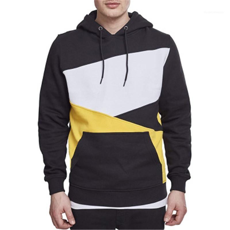 Trend Gürtel Langarm PulloverHoodies Designer Männer mit Taschen lose beiläufige Sweatshirts Mann Tricolor Patchwork Kapu Mode