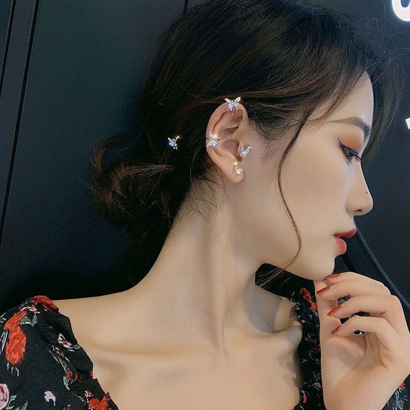d1dUd Zarif basit kulak klipsi kadınların çevrimiçi kırmızı ve küpeler S925 gümüş iğne peri Mori Süper Peri küpe kadın