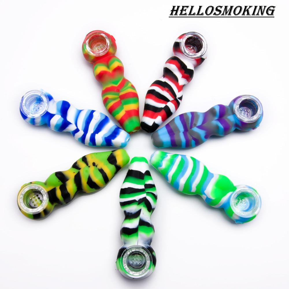 4.1 inches Colorful Silicone Hand Pipe Sexy Woman Silicone Smoking Pipe with glass bowl Silicone dab rig Hookah Bongs