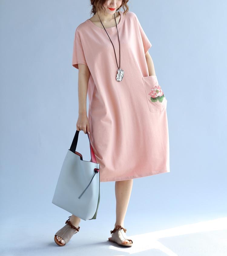 Vente chaude 2020 Été Robe brodée de style chinois de style chinois 200 Jin peut porter de la graisse mm ventre couvrant minceur mi-longueur lâche