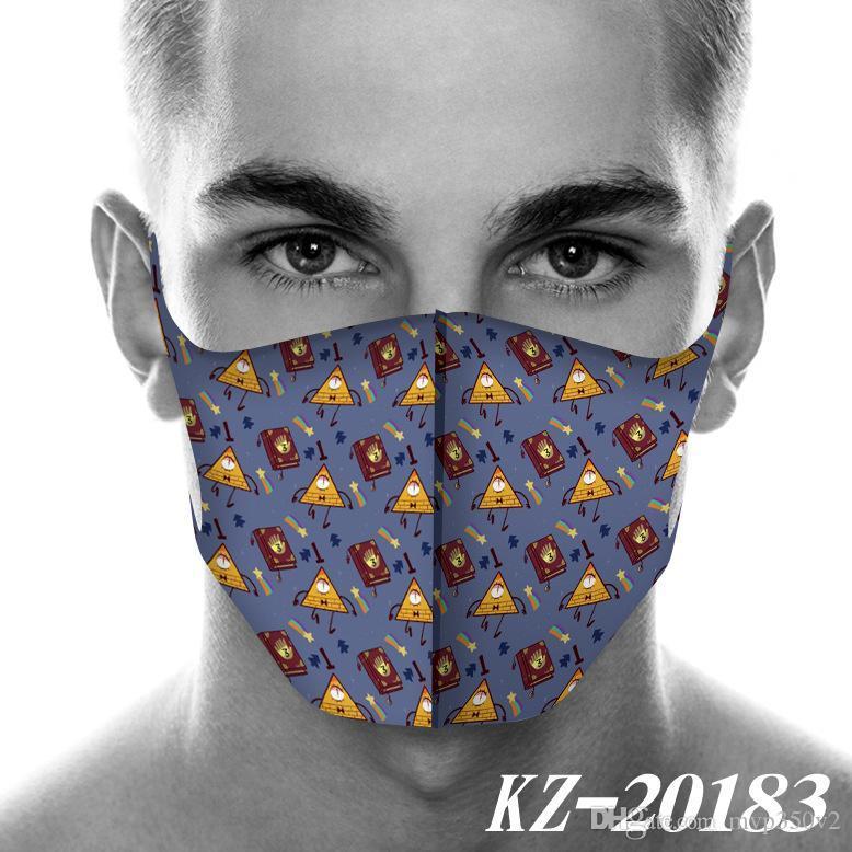 2020 NOVO máscara designer de cara estranha cidade ao redor Máscaras de impressão poeira Máscara 2D mundo dos desenhos animados Moda Máscara Cosplay máscaras reutilizáveis