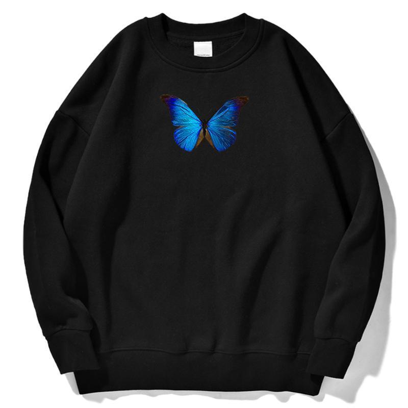 Erkek Hoodies Tişörtü Mavi Kelebek Desen Baskı Sonbahar Giyim Erkek Kore Retro Kazak Adam Crewneck Streetwear Kapşonlu Erkekler