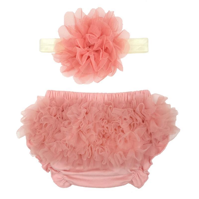 Bebés Meninas Shorts Chiffon Ruffle Bloomers Flor Headband Fotografia recém-nascido Tutu Criança Acessórios bonito cabelo capa de fralda