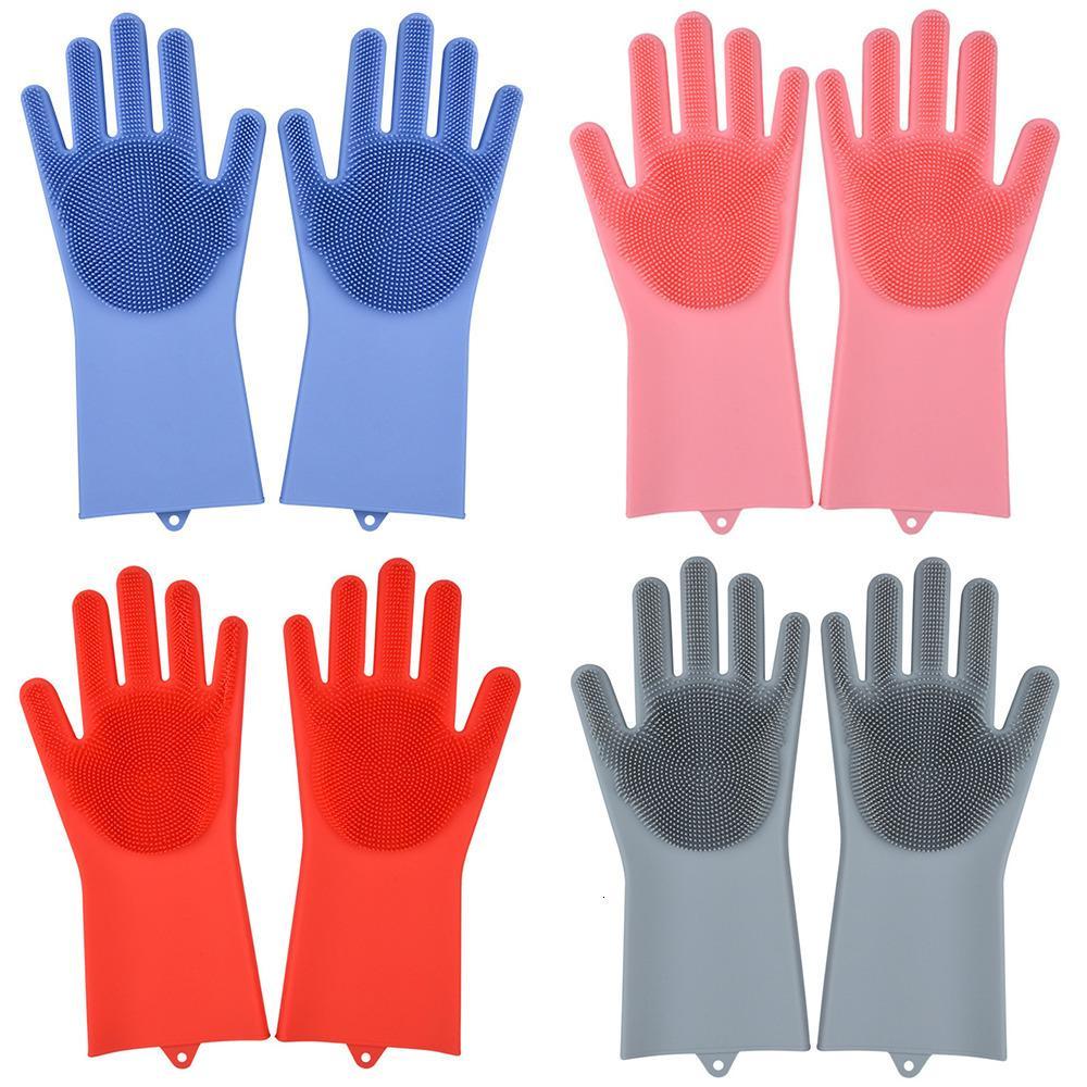 Горячие силиконовые резиновые перчатки для чистки Удобные для кухни Бытовая губки мытья посуды Многофункциональные и Durable 1 пара онлайн