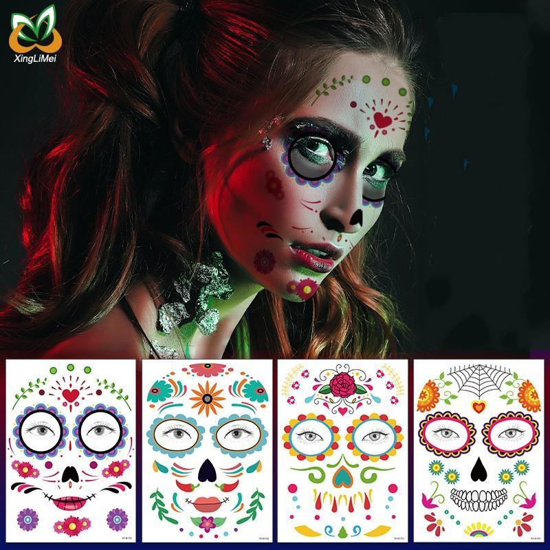 Eco-friendly étanche Décor Halloween Props tatouage temporaire autocollants visage autocollant Atmosphere mascarade faux visage Tatouages Body Art