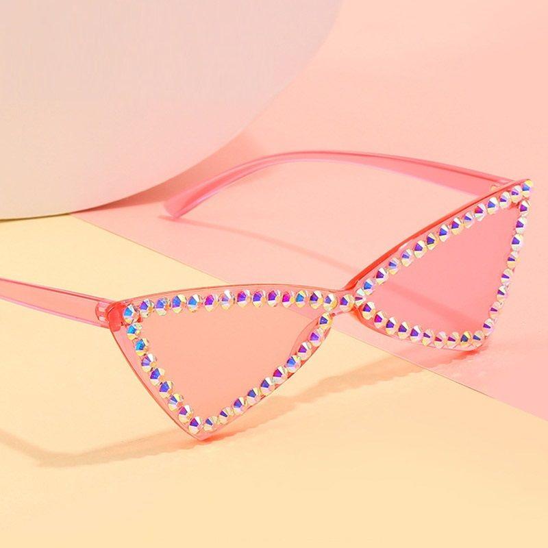 Kristal Kedi Göz Güneş Kadınlar Lüks Okyanus Lens Gözlük mücevher Rhinestone Dekorasyon Üçgen Güneş Sevimli Shades óculos gözlük