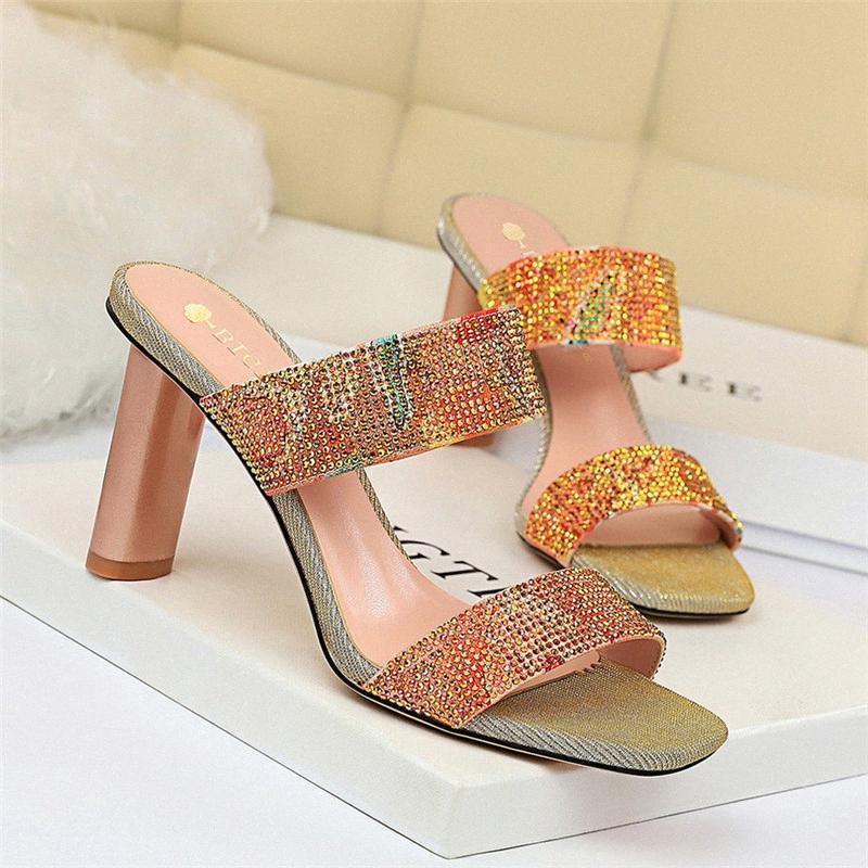 Корейский женские сандалии Толстый каблук высокий каблук Блестящая Rhinestone слова с Тапочки высокие Женская обувь Мокасины для женщин башмаков для женщин Фро SR1E #