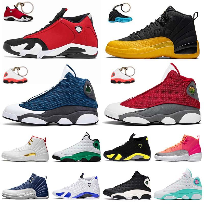 JUMPMAN New Quality 12s Flu Game Mens Basketball Shoes 14s Gym Red Flint 13s University Blue Hot Punch Soar Green Women Outdoor Trainers