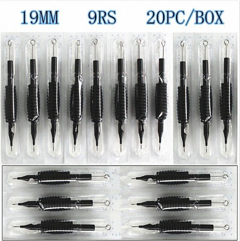 """ile 20 x Tek Dövme Sapları Tüp İğneler Karışık 9RS Boyut 3/4"""" İğneler Mürekkep Bardaklar Tutma Setleri R3Wj # için (19mm)"""