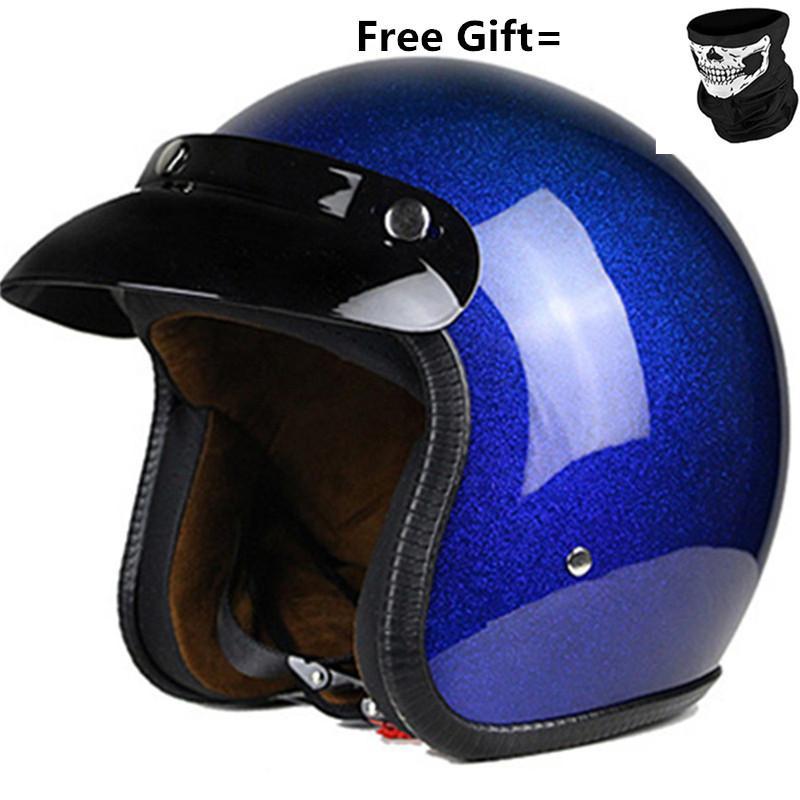 Голубые каски 3/4 Мотоцикл Чоппер велосипед шлем с открытым лицом старинных мотоциклов шлем S размера XXL