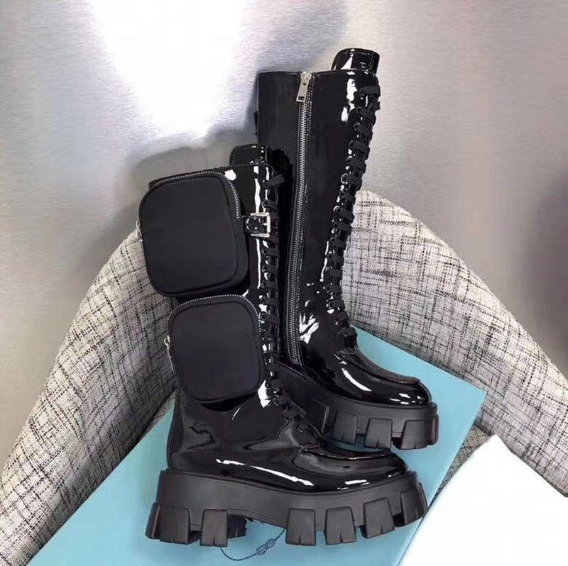 Stivali del ginocchio delle donne Rois Nylon Derby Martin Boots con sacchetto Battle in pelle verniciata scarpe da combattimento Stivali da combattimento in gomma nera Suola piattaforma scarpe