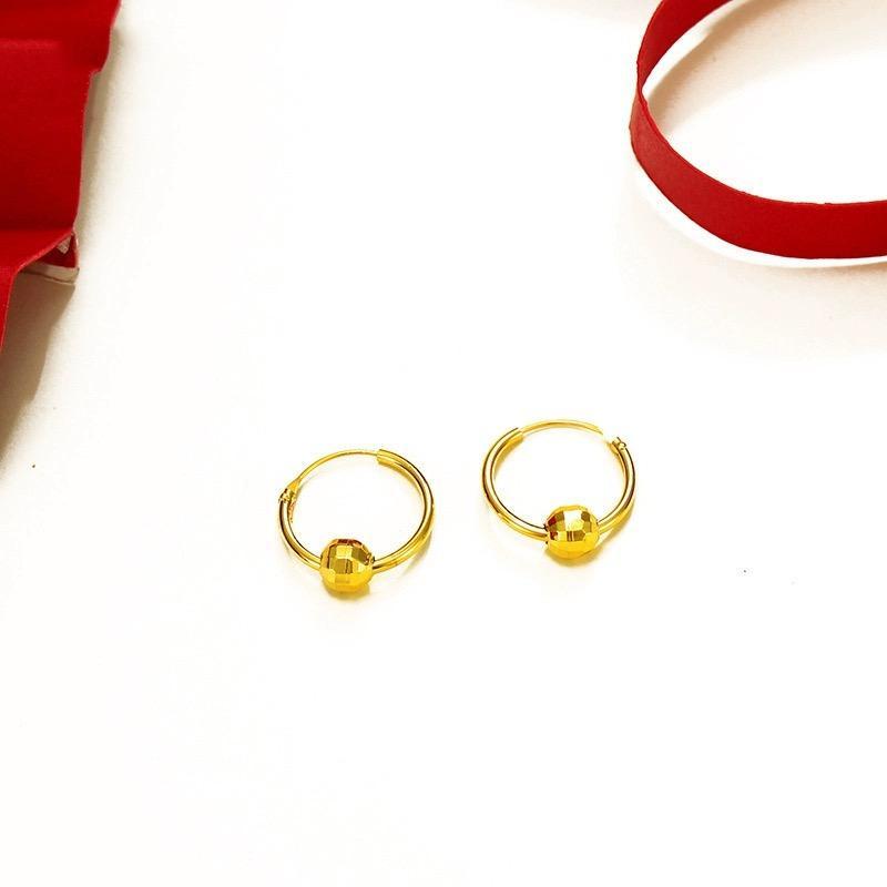 HOOP Huggie Unisex Mini orecchini Giallo oro riempito fortunato perlina uomo monili moda donna
