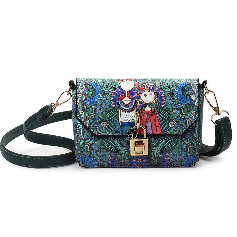 Alta calidad bolso para mujer del otoño 2020 de las nuevas mujeres bolsa original Modern Girl impresión de la manera bolsa de mensajero de la honda de la plaza