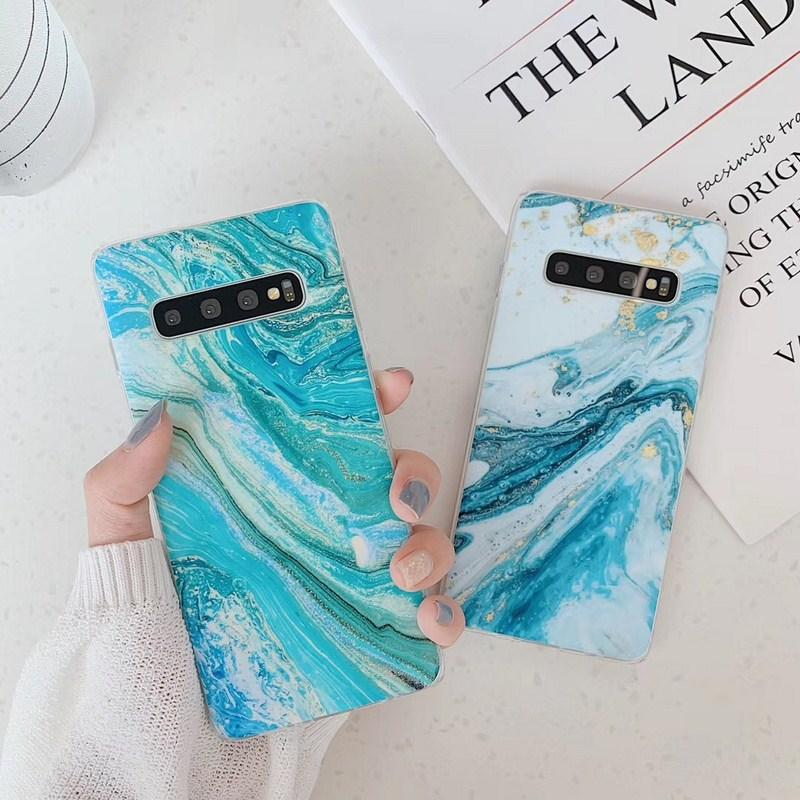 Blue Marble Pattern Phone Case For Samsung Galaxy S10 e S9 S8 Plus Note 20 10 Ultra A70 A50 A40 Soft IMD Full Body Back Cover