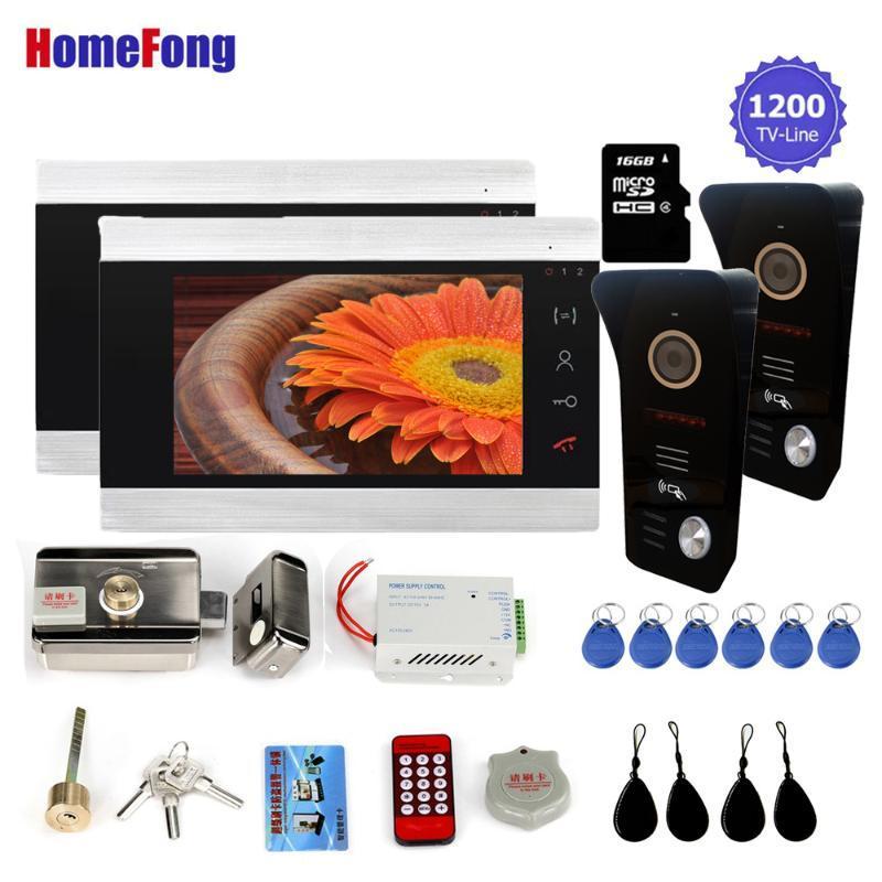 Telefones da porta de vídeo Homefong Intercom 7 polegadas Controle de acesso do sistema de telefone com fio com bloqueio