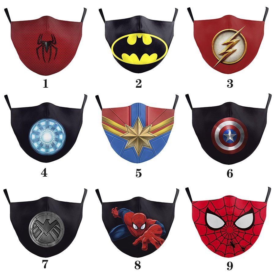 Бэтмен Человек-паук Капитан Америка супер герой взрослых дизайнер роскошь маски для лица партии Cosplay маска многоразовой пыль ветрозащитного хлопок Праздничной маски