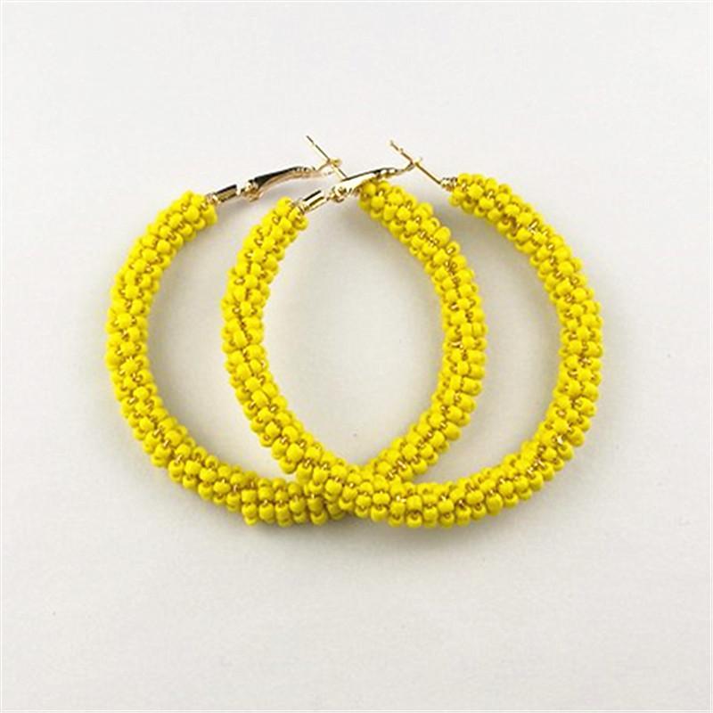 Новая мода Красный Желтый Белый бисер Круг Хооп серьги для женщин Заявление Pendientes Brincos Oorbellen богемского ювелирные изделия