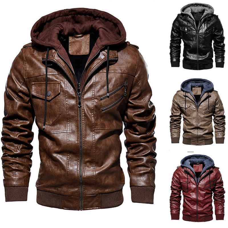 Мужской меховой меховой FUX LAAMEI MENS AUT MATUM SIZY модный мотоцикл PU кожаная куртка мужчины SLIM FIT наклонные куртки молнии пальто