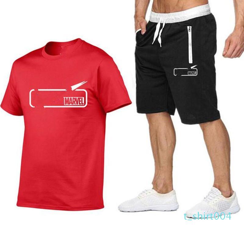 Marka Erkek T Shirt Şort Seti Yaz Kısa Kollu Eşofman Spor Salonları Casual Erkek T Shirt 2 Adet Marka Giyim Boyut S-2XL t04