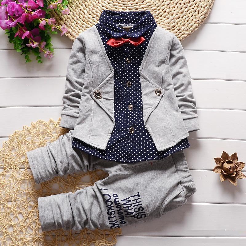 2PC ragazzi del bambino Abbigliamento Bambini Bambino Bambini maschi vestiti dei bambini Dot due pezzi falso di Bowknot Tie Coat Wedding Suits partito formale