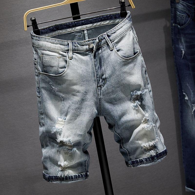 Bvaoh пят и обрезано и растягиваться светлого цвета лета Hole прокалывания пят брюки jeansjeans модный jeanslight цвета Trendy