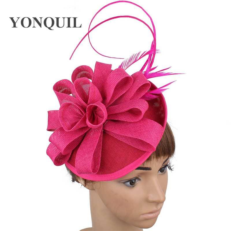 Pink-Mode-Kopfschmuck Frauen Partei Abendessen fascinators Hut für Damen formale Hochzeit Filzhut Kappe Phantasie Feder chapeau Kappen