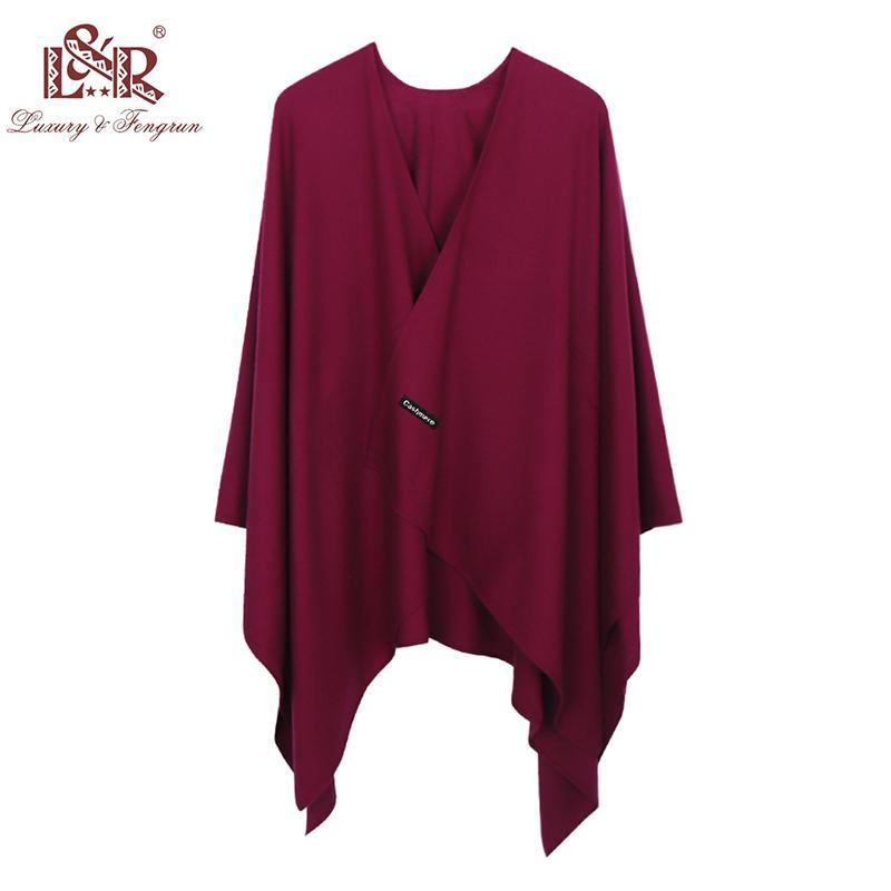 Bandanas 2021 Fashion Cashmere Winter Donne Donne Poncho Sciarpe Solido Scialle Cape Foulard Femme Femminile BUFANDA MUJER SJAAL
