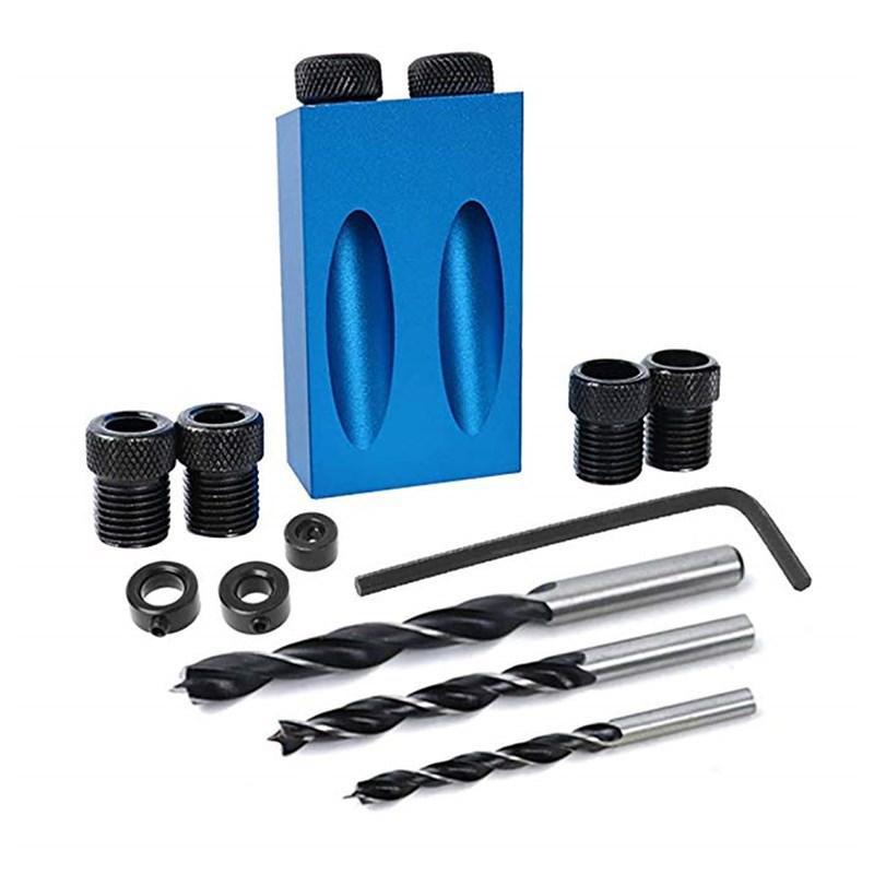 Instrumento de la madera oblicua Localizador de Agujeros Taladro conjunto de herramientas de 15 grados de ángulo broca de referencia establecidos piezas de la herramienta perforadora de mano