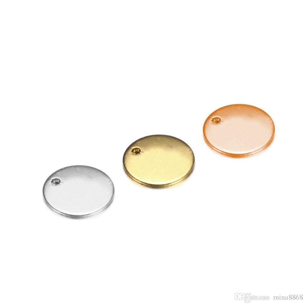 cgjxs 10 / 20mm encantos de alta calidad en acero inoxidable plata de la forma de oro rosa de oro Redondo Color Stamping Colgantes de la etiqueta en blanco para Hacer collar J