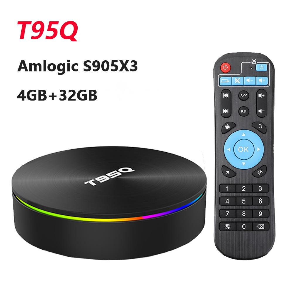 T95Q 4GB 32GB Android 9.0 TV Box 4K Media Player DDR3 Amlogic S905X3 رباعية النواة 2.4G5GHZ المزدوج واي فاي BT4.1 100M H.265 ذكي TVBox