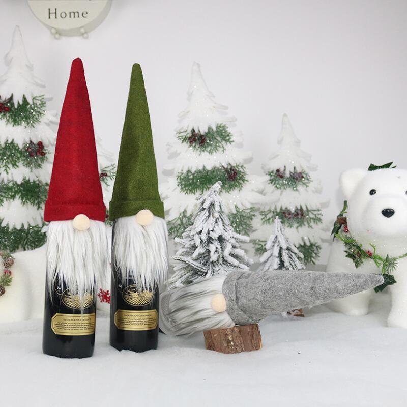 Botella Bolsa de regalo de Navidad decoraciones de Santa Claus bolsa de vino de cristal Conjunto de Navidad Champagne Decoración Vino Bolsa LX3206