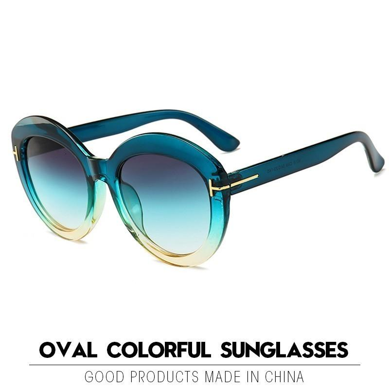 Красочные овальные солнечные очки женщин Vintage Gradient Оттенки Солнцезащитные очки Мужчины óculos Feminino Gafas Lentes De Sol UV400
