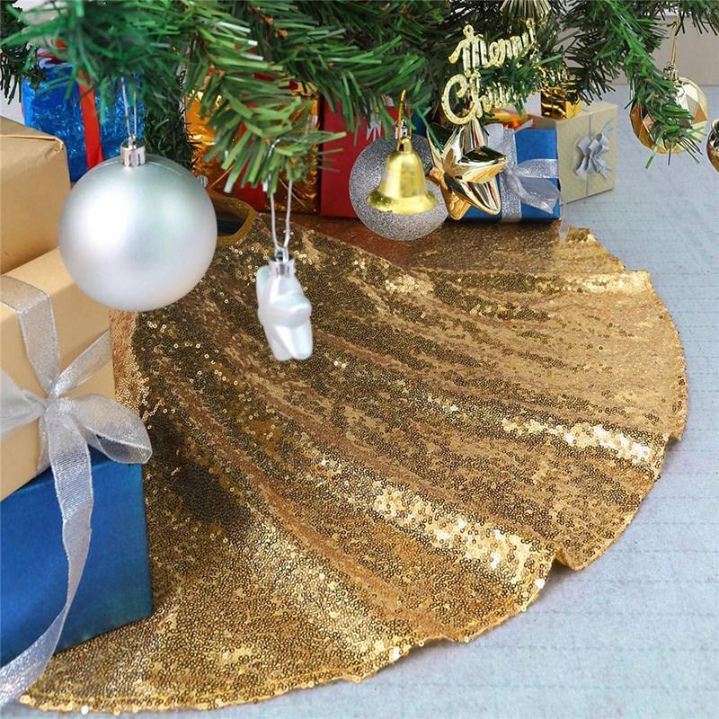 Yılbaşı Ağacı Etekler 48Inch Pırıltılı Ağacı Etek Kumaş Halı Yuvarlak Altın Pullu Chrismas Paspaslar Güzel Fotoğraf Sk