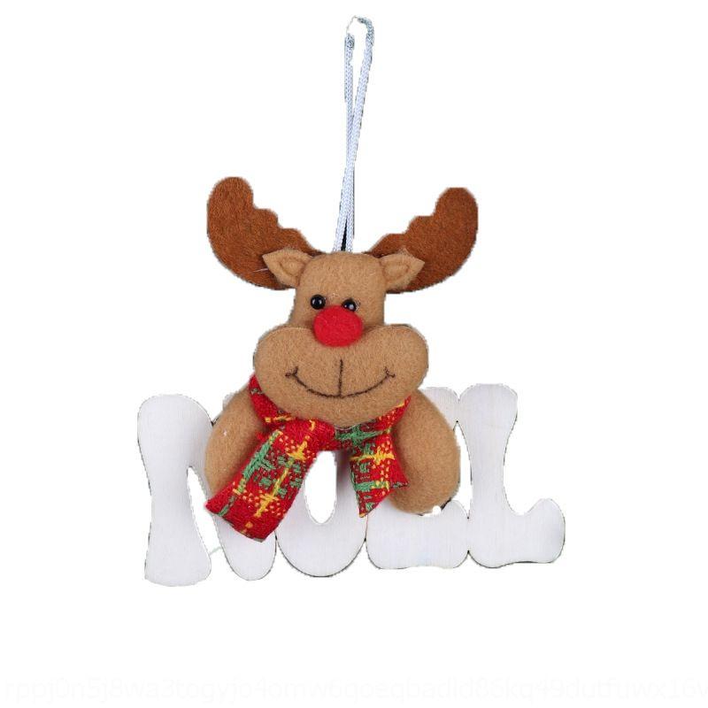 Decoraciones de Navidad cartas de árboles pendiente de los accesorios accesorios de madera pequeño colgante viejo muñeco de nieve ciervos paño oso colgante chimenea wi
