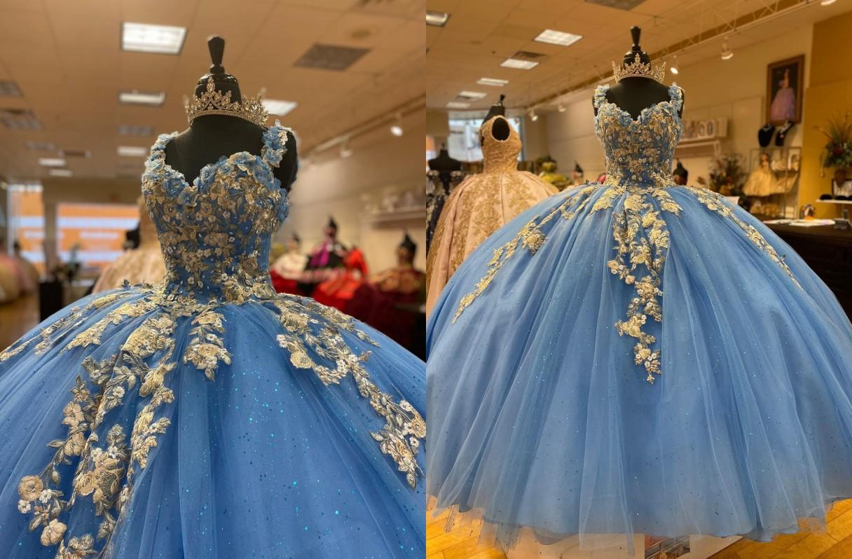 Amazing 2021 Gold Lace Flowers Light Blue Ball Gown Quinceanera Prom Dresses Bling Beading Sequins with Straps Corset Back Formal