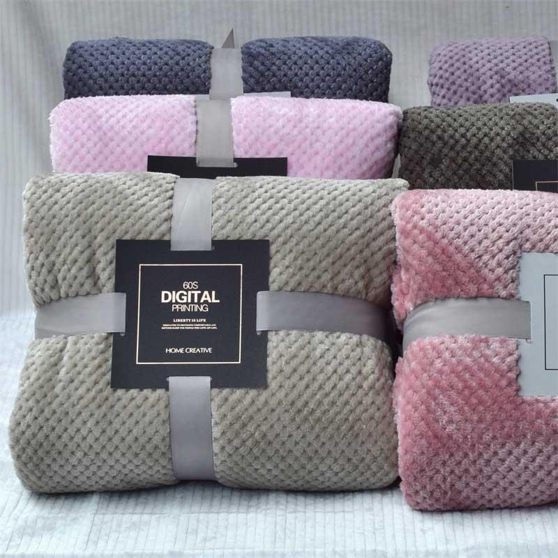 polar fleece lançar cobertor macio manta de viagem cor sólida colcha Plush Capa para sofá-cama Quente presente Dropship