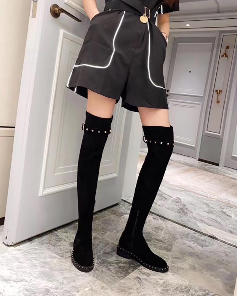 Over the knee boots women 20 fashion designer black side zipper Knight boots show thin flat heel elastic leather boots with box and dustbag